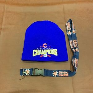 Brand new Chicago Cubs beanie and lanyard